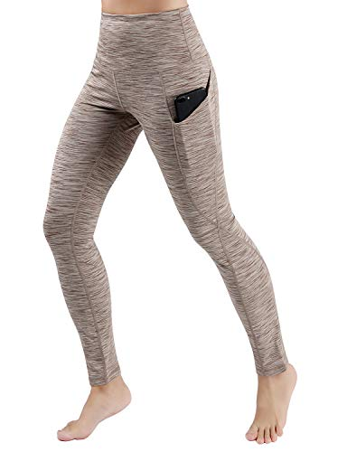ODODOS High Waist Out Pocket Yoga Pants Tummy Control Workout Running 4 Way Stretch Yoga Leggings,SpaceDyeBrown,X-Large