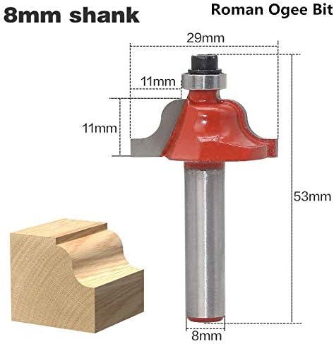 NO LOGO 1pc 8mm Schaft Roman Ogee Edging & Molding Holz Fräser mit Top Lager Wolframkarbid Holzbe- Fräser (Größe : As Show)