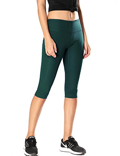 ning Tights Workout Capris Cropped Yoga Pants With Pockets Hunter Green M (8-10) (Capri Cropped Tights)