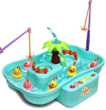Kiddie Play Fishing Game Water Toy Set for Kids with Rotating Water and Floating Ducks