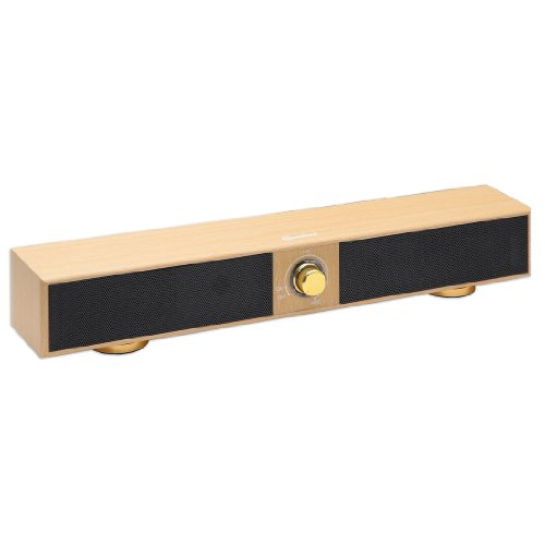 Connectland 17 2.0 Channel USB Powered Stereo Sound Bar Desktop Laptop Surround Effect Wood Grain CL-SPK20150
