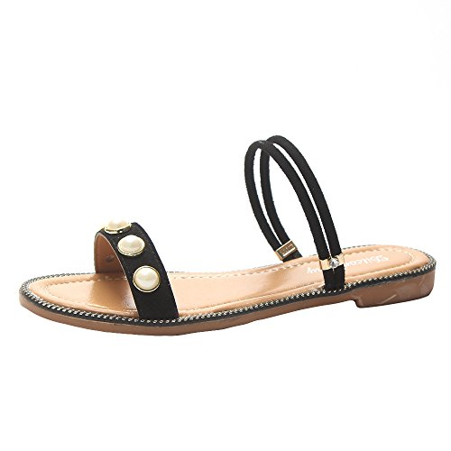 Perle MOIKA Damen Sommer Mode Damen Sandale Flach Bohemia Zehentrenner mit Schwarz Sandale vSqvHwR