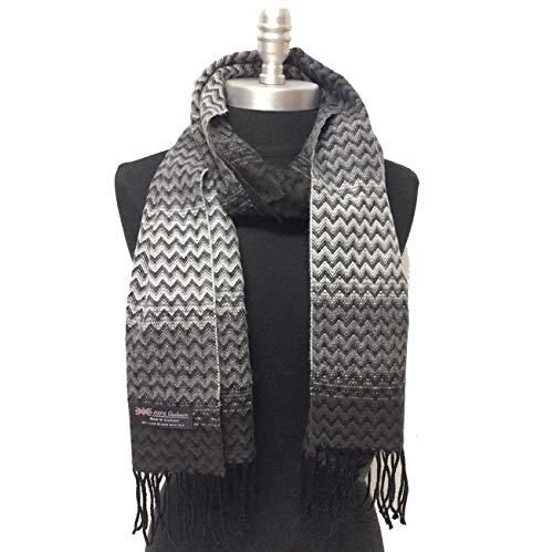 Men's 100% Cashmere Scarf Chevron Design Grays Black Color Made In Scotland Soft Warm Winter Shawl