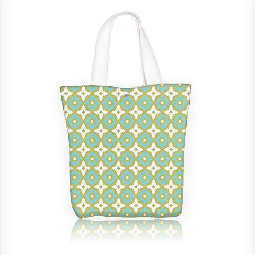 Canvas Zipper Tote Bag Printed Decor Floral Shaped Soft Pastel Toned Ornate Islamic Mosaic Style Pattern Khaki Turquoise Reusable Canvas Zipper Tote Bag Printed 1002% Cotton W16.5xH14xD7 INCH by Muyindo