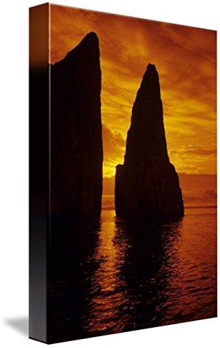 (Imagekind Wall Art Print entitled Galapagos, Orange Sunrise Over Kicker Rock by Design Pics   7 x 10)