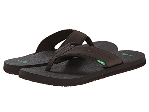 Sanuk Mens Beer Cozy 2 Sandal/Flip Flops/Slipper Footwear (11 D(M) US, Dark Brown,)
