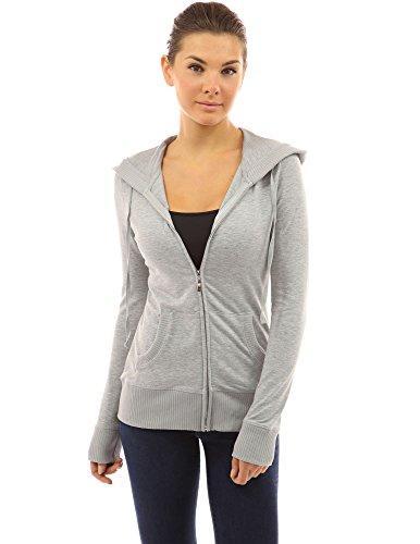 Women's Zip Heather Jacket Hoodie Pocket Up Grey Light PattyBoutik dxBwad