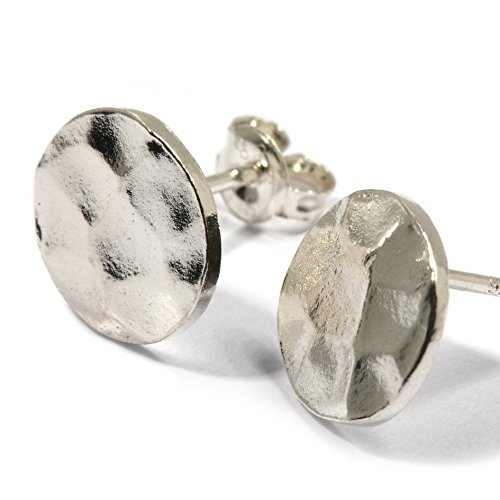 Scutum Craft 925 Sterling Silver Hammered 9mm Disc Stud Earrings, Perfect Gifts for Best Friend