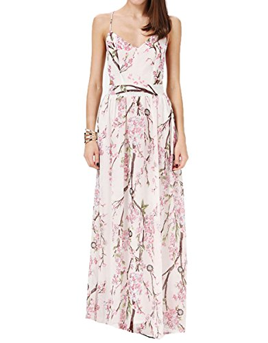 Floerns Women's Sexy Floral Backless Beach Party Maxi Dress Pink L