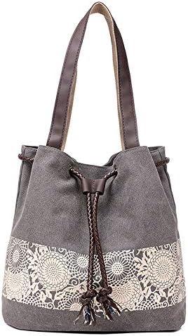 ハンドバッグ - 新デザイン巾着バッグショルダーバッグマルチポケットデイリーカジュアルトートバッグを持つ女性ファッションソリッドカラーの大きなキャンバスバッグ、30 * 29 * 12CM よくできた