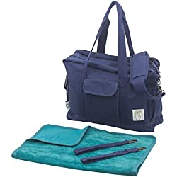 Organic Canvas Diaper Bag with Stroller Straps & Change Pad