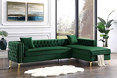 Inspired Home Green Chaise Sectional Sofa - Design: Giovanni | 115