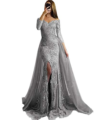 SDRESS Women's Appliques Off Shoulder Long Sleeve Mermaid Formal Prom Dress Overskirt Side-Slit Evening Gown Grey Size 22 (Prom Gown Slim)