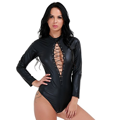 iEFiEL Womens Punky Lace up High Neck Leotard Bodysuit Costume Tops Black (70s Workout Costume)