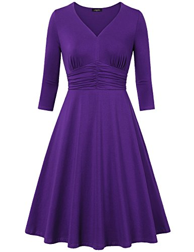 laksmi-womens-retro-style-v-neck-3-4-sleeve-high-waist-ruched-dress