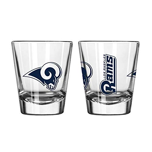 Official Fan Shop Authentic NFL Logo 2 oz Shot Glasses 2-Pack Bundle. Show Team Pride at Home, Your Bar or at The Tailgate. Gameday Shot Glasses for a Goodnight (Los Angeles Rams)