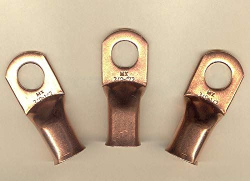 5 Big Copper Lug Terminal Connector Ring Battery #3/0 Wire Gauge 1/2