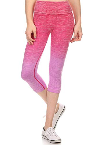 Style One Women's Ombre Dyed Capri Fitted Leggings with High Banded Waist 826001 Fuchsia L ()