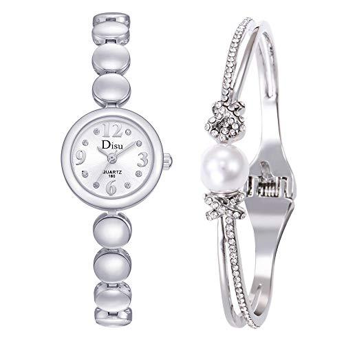 (Bravetoshop Light Luxury Girl Temperament Watch Bracelet Set Chain Watch Birthday Gift(B))