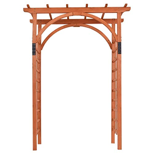 EnjoyShop Premium Outdoor Wooden Cedar Arbor Arch Pergola Trellis Wood Garden Yard Lattice