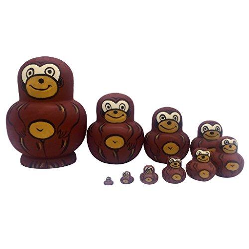 MagiDeal 10PCS Painted Monkey Wooden Russian Nesting Dolls Matryoshka - Painted Monkey