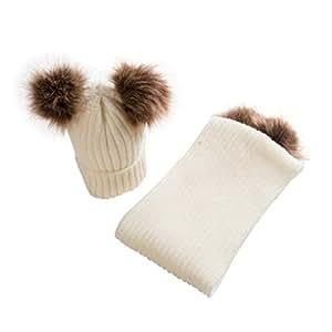 Tongshi Bebé lindo invierno niños bebé sombreros mantener caliente conjunto lindo sombrero bufanda (Beige)