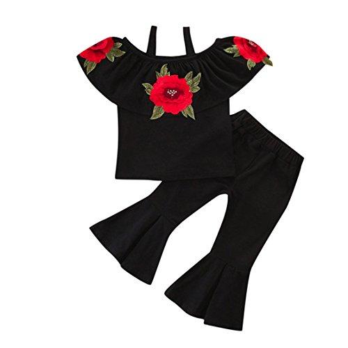 2Pcs Toddler Baby Kids Girls Floral Printed Off Shoulder Tops+ Solid Bell-Bottomed Pants Flare Trousers Set Outfits(3T, Black) (Gowns Christening Designer)