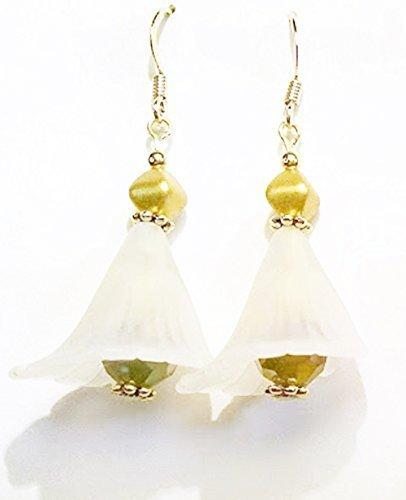 Wedding Belle - White Bell Flower and Iridescent Bead Dangle - Wedding Bell Dangle