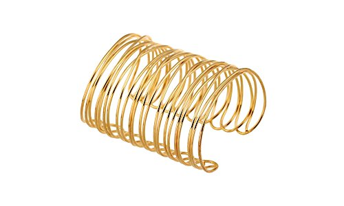 Global Huntress Gold Tone Wire Coil Open End Cuff Ladies Bangle Bracelet