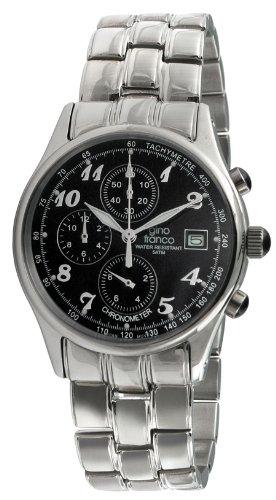 gino franco Men's Quartz Stainless Steel Dress Watch, Color:Silver-Toned (Model: 944BK)