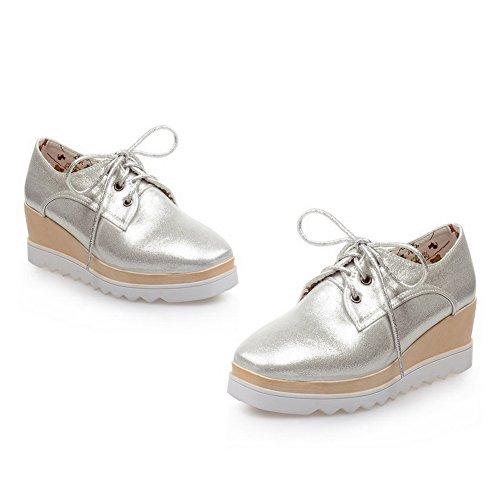 pelle lacci con donna BalaMasa pompe da scarpe Imitated in Silver zeppa per nH1qI7Ywa