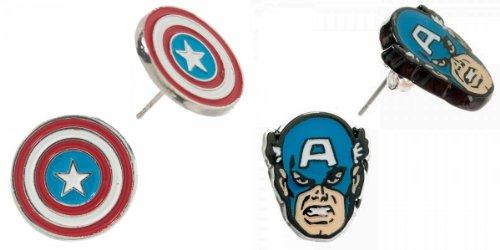 Marvel Comics CAPTAIN AMERICA Set of 2 Pairs Post/Stud EARRINGS
