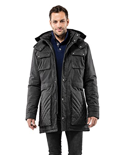 Vincenzo Détachable Veste Et Doublées Temps Chaud Homme D'hiver 2 Poches Grandes Manteau Boretti casual Par Douces Capuche Design anthracite Imperméable Long Froid De parka Élegant pwqOw