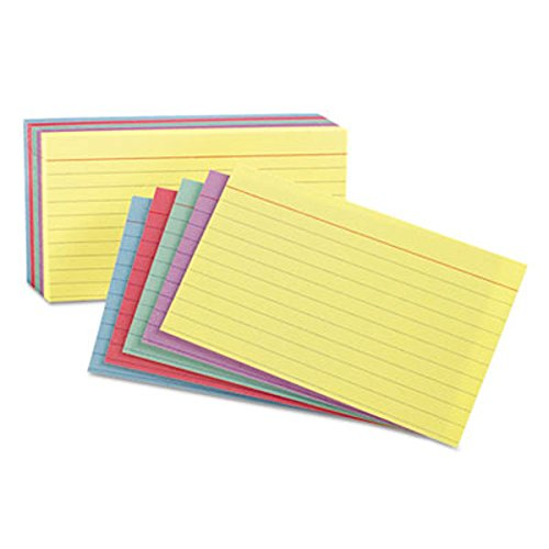 Ruled Index Cards, 3 X 5, Blue/Violet/Canary/Green/Cherry, 100/Pack, Total 5 Packs by ESSELTE PENDAFLEX CORP.