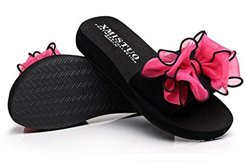 Bumud Kvinna Bohemia Flip Flops Sandaler Platta Skor Hot Pink