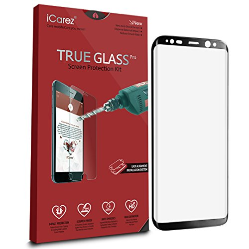 iCarez [Full Coverage Black Glass ] Screen Protector for Samsung Galaxy S8+ /S8 Plus Highest Quality Easy Install [ 1-Pack 0.3MM 9H 2.5D] with Lifetime Replacement Warranty