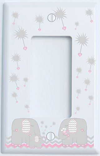 Single Rocker Pink Dandelion Elephant Light Switch Plates Covers / GFCI Outlet / Elephant Nursery Decor (Pink Single Rocker (Baby Nursery Outlet Cover)