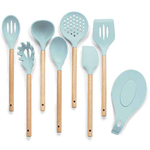 Silicone Cooking Utensils Set, Aqua Utensils Set with Bonus Silicone Spoon Rest - 7 piece incl. silicone spatula – Aqua Kitchen Decor