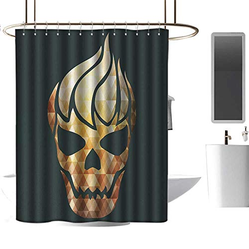 Qenuan Hotel Grade Shower Curtain Modern,Gothic Skull with Fractal Effects in Fire Evil Halloween Concept,Yellow Light Caramel Dark Grey,Eco-Friendly,for Bathroom Curtain 47