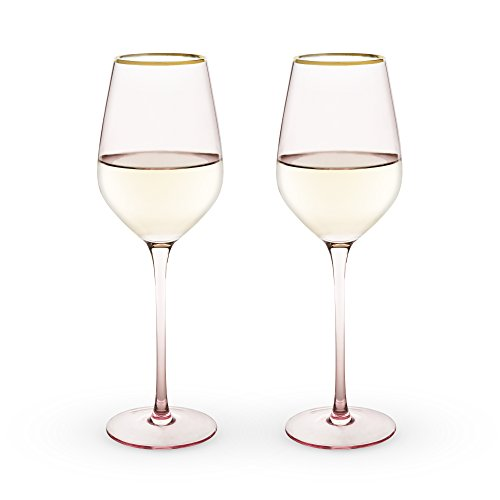 (True Fabrication SS-TRU-6163 6163 Garden Party Rose Crystal White Wine Glass Set by Twine)