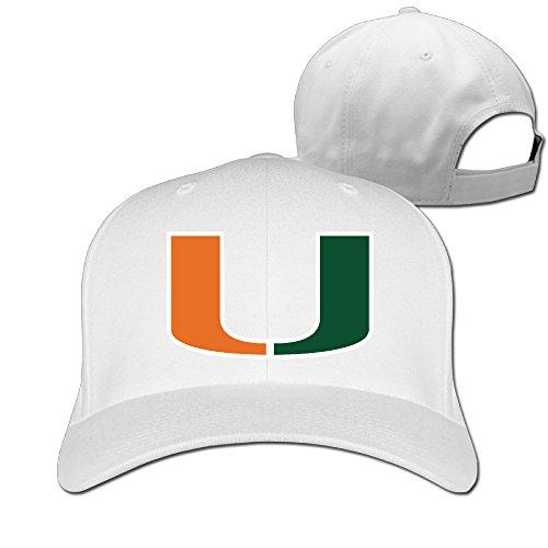 ANJLE Unisex University of Miami Sebastian Adjustable Hat Peaked Baseball Cap - White