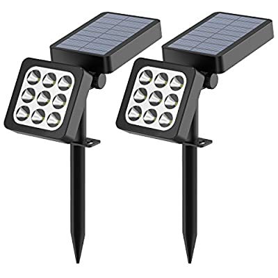 Solar Spotlights 2-in-1 Waterproof Outdoor Landscape Lighting 9 LED Adjustable Spotlight Wall Light Auto On/Off  Security Night Lights for Patio Yard Garden Driveway Pathway Pool (Pack of 2)