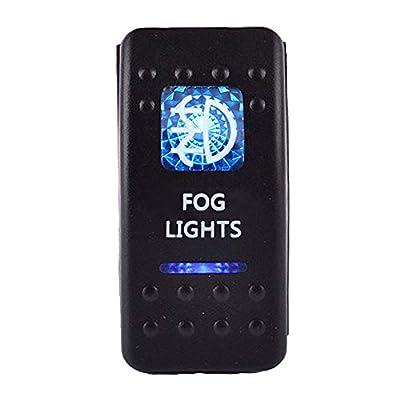 ESUPPORT Car Blue LED Fog Light Rocker Toggle Switch ON OFF 12V 20A, 24V 10A: Automotive