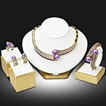 My Us-DeSiGn_CA: Trendy Nigerian Wedding African Beads Jewelry Set Simulated-pearl Statement Necklace Bangle Ring Earrings 4PCs Set Jewellery Set