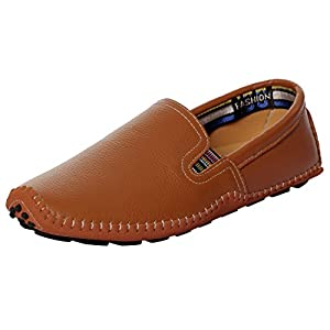 UJoowalk Mens Comfortable Casual Stylish Penny Stitched Striped Driving Slip on Loafer Shoes (10.5 D (M) US, Brown)