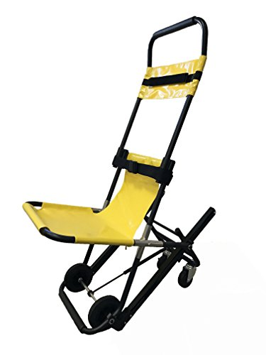 LINE2design Evac Chair - Medical Emergency Single Person Operation Stair Chair - EMS - EMT - Paramedic - Patient Transport 4 Wheels Evacuation Chair - Yellow | Load Capacity: 350 lbs