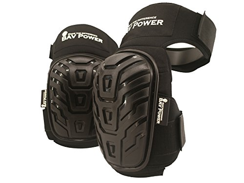 BAV Power Professional Durable Working Knee Pads-Black with Heavy Duty Foam Padding and Comfortable Gel Cushion, Strong Double Straps Adjustable by BAV Power