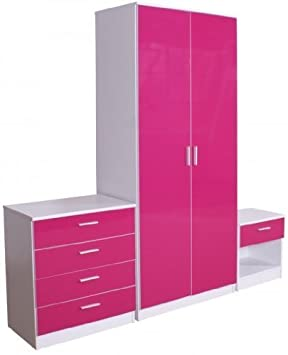 Excellent Lovemyhomefurnitures Pink High Gloss Trio Bedroom Furniture Download Free Architecture Designs Pushbritishbridgeorg
