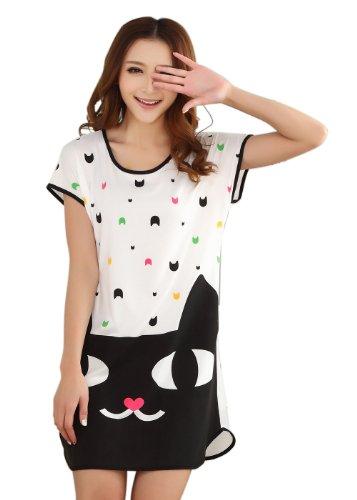 Icibgoods Womens Summer Cartoon Moon with Cat Print Dress Black