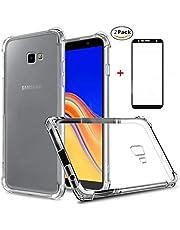 Ttimao Hoesje voor Samsung Galaxy J4 Plus Transparante Zachte TPU Siliconen Versterkte Hoeken Design Anti-Valbeveiliging Ultradunne Krasbestendig Shock Proof Beschermhoes+2*Screen Protector